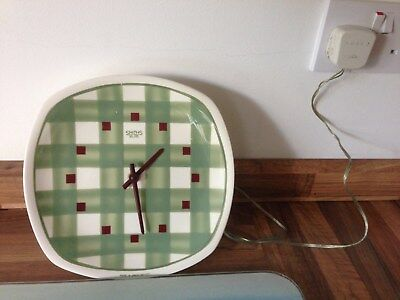 Gingham Wall Clock by Smiths electric movement working order REDUCED TODAY