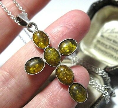 VINTAGE Sterling Silver Real Baltic Amber Cross Pendant & Chain NECKLACE