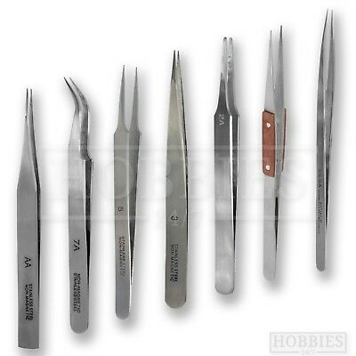 Model Craft Tweezers Stainless Steel AA 2 3 5 7 Straight Pointed Angled Curved