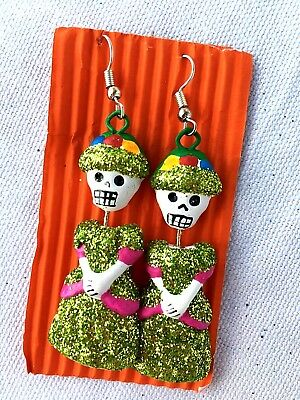 Catrina Glitter  Earrings -  Day Of The Dead Jewelry -Mexico