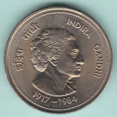 Republic India - 1917/1984 - Indira Gandhi - Five Rupees - Rarest Coin
