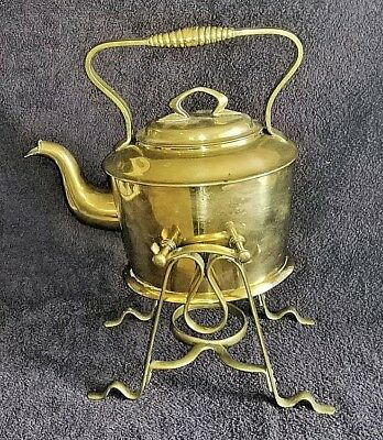 G B N Antique Tin Lined Brass Spirit Kettle With Stand