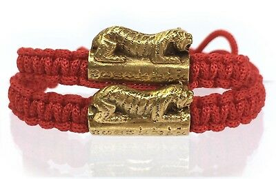 Lot of 2 Charm Bracelet Wristband Monk Blessed Tiger Amulet Lucky and Protection