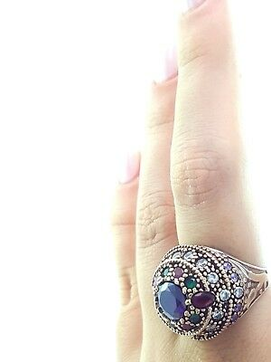 Active Turkish Handmade Jewelry Sterling Silver 925 Ruby Ring Set 7 8 9 Fine Jewelry