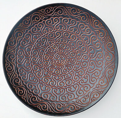 19Th Cntury Antique Chinese Tixi Cinnabar Lacquer Carved Charger Xuantong Mark