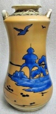 SIGNED HAND PAINTED IMPERIAL NIPPON VASE Scenic w Royal Blue Japanese Landscape