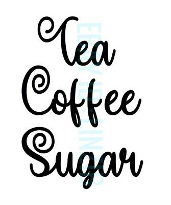 tea coffee sugar jars labels vinyl decals stickers set any colour