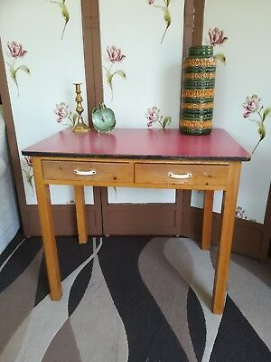 Vintage Retro 1950s formica pine kitchen table Desk with drawers
