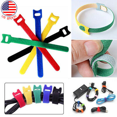 50/100 Pcs Nylon Cloth Hook and Loop Cord Wire Ties Reusable Cable Straps US