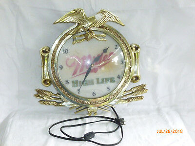 """Miller High Life Wall Clock/Lighted Face/17"""" Over All"""