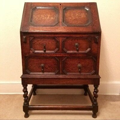 Vintage / Antique Solid Oak Bureau Writing Desk