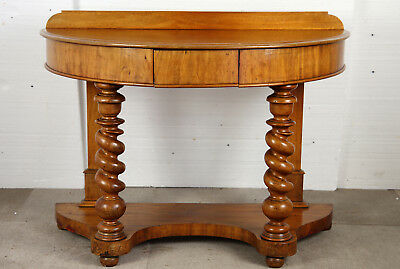 Victorian Walnut Demi Lune Side or Dressing Table