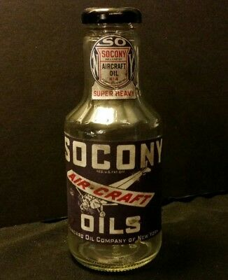 Vintage Style Socony Aircraft Airplane Oil Glass  Bottle...Artist Handcrafted