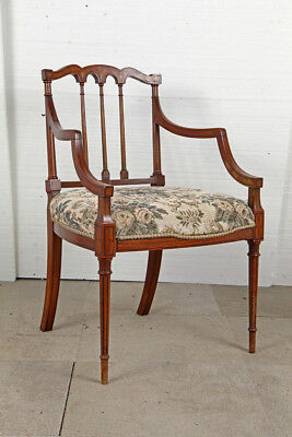 Edwardian Sheraton Revival Satinwood Elbow Chair
