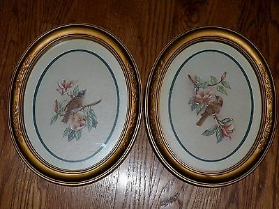 Vintage Matching Set Of 1983 Homco Birds Wren Finch Print Ornate Gold Oval Frame
