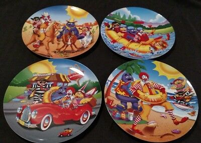 """Vintage Set of 4 Mcdonald's Collector Summer Fun Promotional Plates 9.5"""" 1998"""