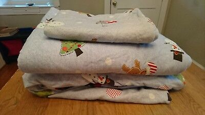 Pottery Barn Kids TIS THE SEASON Santa Christmas Flannel  TWIN sheet set PBK