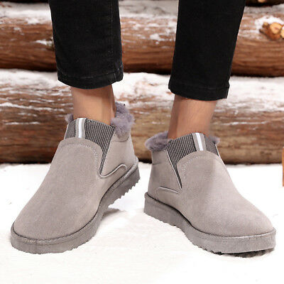 Men's Snow Ankle Boots Low Top Cotton Shoes Fur Lining BootiesRound Toe Slip On