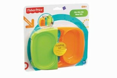 Fisher Price On-The-Go Meal Kit - NEW - Green / Orange - Travel - Toddler