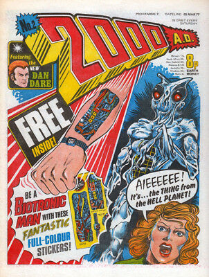 2000AD PROG 2 1st JUDGE DREDD Issue Mid Grade Comic no FREE GIFT STICKERS