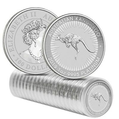 Roll of 20 - 2019 1 oz Australian Platinum Kangaroo Perth Mint Coin BU In Cap