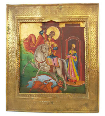 Antique 19th C Russian Wooden Icon of St.George the Victorious in Brass Riza