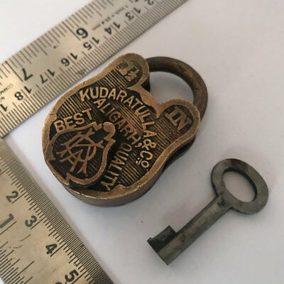 (01). An old antique vintage solid brass padlock lock with key small miniature