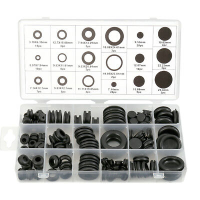 125x Rubber Grommets Wiring Cable Open Closed Blanking Grommet Assorted Set Kit