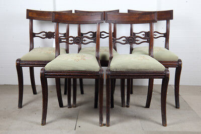 Set Of Five Regency Period Mahogany Dining Chairs