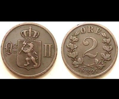 1897 Norway 2 Ore, 0.99 Cents Auction,  See Pics