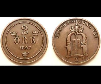 1897 Sweden  2 Ore, 0.99 Cents Auction,  See Pics