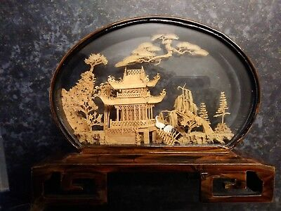 Chinese Cork Carving of Scene in Lacquered Wood and Glass Showcase