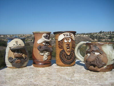 Vintage Mahon Era Art Pottery  Ugly Funny Face Steins Tankards Mugs Lot