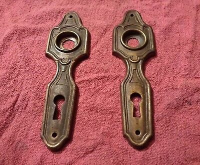 Pair Of Skeleton Key Door Plates (Brass, Antique)