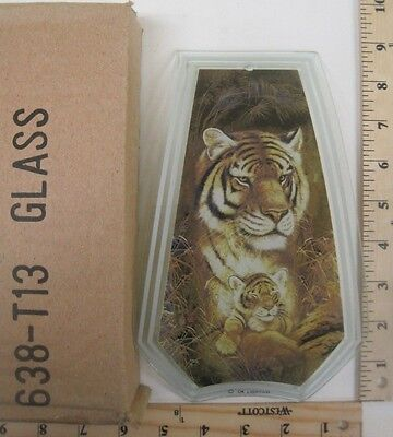 FREE US SHIP OK Touch Lamp Replacement Glass Panel White Bengal Tiger 638-TI2