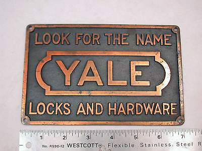"Antique Cast Iron Yale Advertising Merchantile Plaque or Sign 4 1/2"" High x 7"""