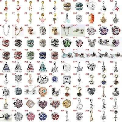 European Silver Charms Mermaid Beads CZ Xmas Pendant Fit 925 Sterling Bracelets