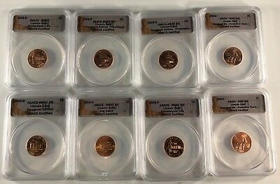 2009 P & D Bicentennial Lincoln Cents (8) Coins, ANACS MS67 Red