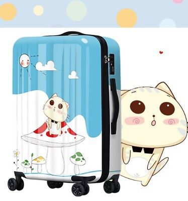 D364 Lock Universal Wheel Cartoon Cat Travel Suitcase Luggage 28 Inches W