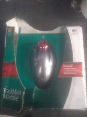 5c171a0c221 LOGITECH TRACKMAN TRACKBALL Marble Mouse Scroll Black Red USB new ...
