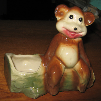 Vintage American Bisque Novelty Planter 'bear On The Log'  5 1/2 Inches Unmarked