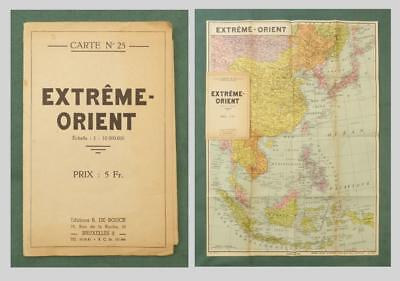 "1930's BELGIAN MAP of the FAR EAST, ""Extreme Orient"" - China, Japan, Malaysia"