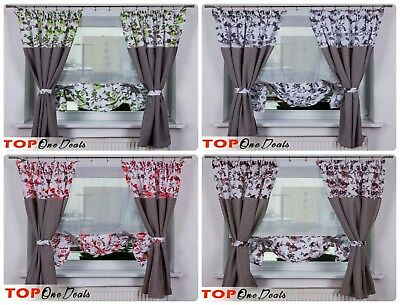 Amazing Voile Curtains & Blinds Set Panel + 2 Curtains Novelty Green Grey Red