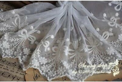 Fabulous Lace Trim Embroidered Floral Mesh Tulle 1 yd Fast Shipping