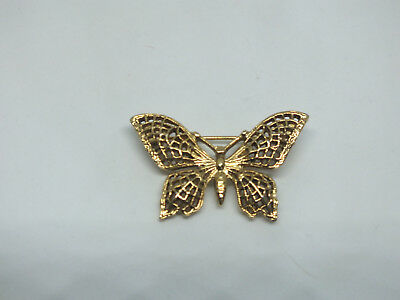 "Beautiful Brooch Pin Butterfly Gold Tone Filigree 1 3/8 x 3/4"" NICE"
