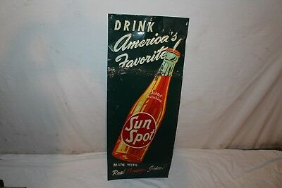 "Vintage 1947 Sun Spot Soda Pop Bottle Gas Station 30"" Embossed Metal Sign"