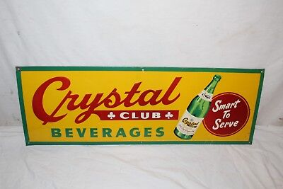 "Vintage 1940's Crystal Club Soda Pop Bottle Gas Station 28"" Embossed Metal Sign"
