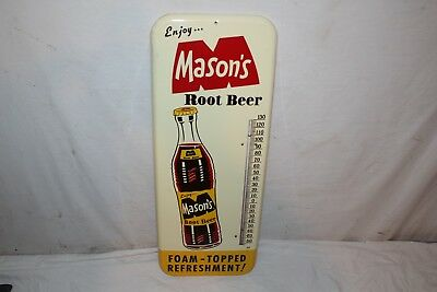 "Vintage 1965 Mason's Root Beer Soda Pop Gas Oil 26"" Metal Thermometer Sign~Nice"