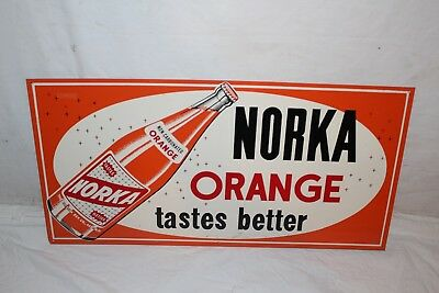 "Vintage c.1960 Norka Orange Soda Pop Gas Station 24"" Metal Sign~Nice"