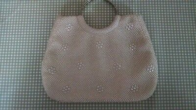 Vintage Beaded Purse Evening Bag  Hong Kong Made Metal Silver Tone Round Handles